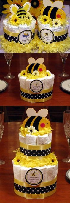 Cute as Can Bee Diaper Cake Centerpiece