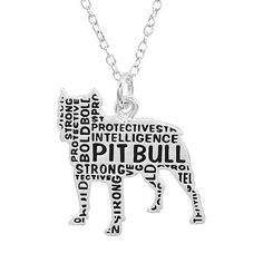"""Silver-Plated """"Pit Bull"""" Pendant Necklace"""