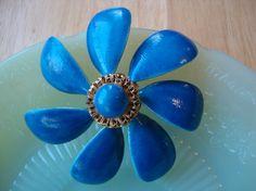 Vintage Blue Metal Flower Brooch Pin Sandor by WintervilleWonders