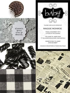 Unisex, black and white, retro baby shower