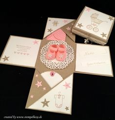 Box baby geburt stampin stempelhexe                              … Baby Shower Cards, Baby Cards, Baby Scrapbook, Scrapbook Cards, Baby Shower Mixto, Card In A Box, Craft Presents, Diy Paper, Paper Crafts