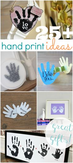 25 adorable hand print gift ideas! Perfect for teacher gifts, Mother's Day or Father's Day, etc. Great teacher appreciation gift idea!!