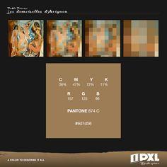 """""""Les demoiselles d'Avignon"""" by Pablo Picasso.      C 36% M 47% Y 72% K 11%     R 157 G 125 B 86     PANTONE 874 C     #9d7d56"""