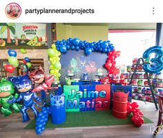 PJ Mask Birthday Party Dessert Table and Decor 3rd Birthday Party For Boy, Birthday Party Desserts, Birthday Themes For Boys, Birthday Party Tables, Kids Party Themes, Superhero Birthday Party, Dinosaur Birthday, Birthday Party Decorations, Geronimo