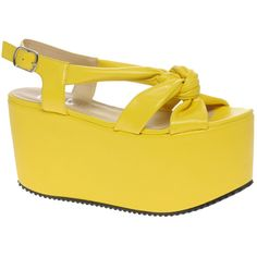 Ego and Greed Yellow Flatform Sandals (19.315 HUF) ❤ liked on Polyvore featuring shoes, sandals, yellow, chunky high heel sandals, high heel shoes, high heels sandals, slingback peep toe sandals and yellow shoes