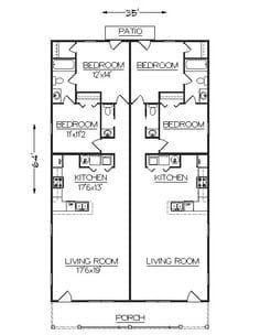 Studio Apartment Floor Plans, Duplex Floor Plans, Studio Floor Plans, Apartment Plans, Narrow House Plans, Small House Floor Plans, Cottage Floor Plans, Family House Plans, Starter Home Plans