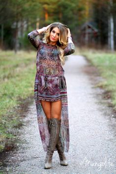 Not sure about the high-low but like the tribal dress and those boots!!