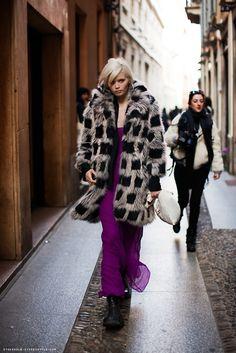 Fur coat, purple maxi, big black boots.
