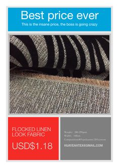 best ever price for the linen look fabrics if you are now looking for or in the market currently for this kind of fabrics,don't hesitate to contact us,i am sure that we will be your ideal choice.Saving money means gaining money. Kinds Of Fabric, Sofa Upholstery, Going Crazy, Fabric Weights, Saving Money, Fabrics, Tejidos, Save My Money, Money Savers