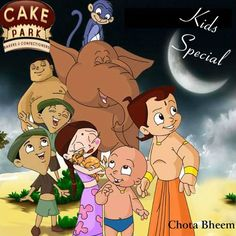 Chota Bheem photo prints with edible colors on the cake.  Cakes available are Spider Man Cake, Dora cake, Angry bird cake etc...  Check out this page to know about variety of photo cakes http://www.cakepark.net/photo-cakes.html