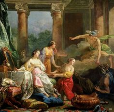 Mercury, Herse and Aglauros. 1763. Jean Baptiste Marie. French. 1714-1789. oil on canvas.