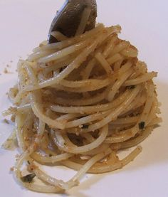 1/2 cup olive oil 2 cups fresh homemade breadcrumbs 2 large garlic cloves, very finely minced ¼ cup grated Parmesan cheese ¼ cup finely chopped fresh Italian parsley Salt and pepper to taste 1 pound pasta, such as spaghetti, linguine or capellini