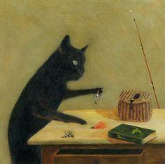 """Art Print of an Original Animal Painting: """"The Angler"""""""
