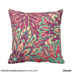 Colorful mandala pattern throw pillow  #Home #decor #Room #Interior #decorating #Idea #Styles #Traditional #Boho #Indian #Vintage #floral #motif