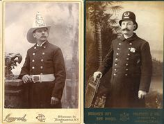 Policeman and Fireman, Cabinet card photo from the Victorian age