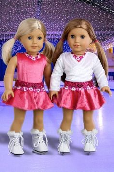 Ice Skating Girl - 2 in 1 set features hot pink leotard with skirt, ivory warm up sweater and a pair of white ice skates - 18 Inch Doll Clothes  Price : $26.97 http://www.dreamworldcollections.com/Ice-Skating-Girl-features-leotard/dp/B004OUIBNU