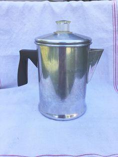 Vintage Aluminum Mirro Coffee Percolator Camping Coffee Pot