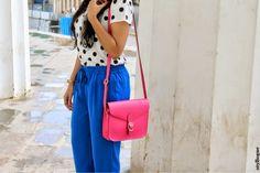 Styllogue | Indian Fashion,Style and Beauty Blog: Monsoon Brights #bluepants #zara #polkadots #pinkbag #styllogue #monsoontrends #monsoonfashion
