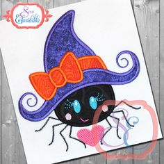 SPIDER WITCH HAT Applique Design For Machine Embroidery by SewEmbroidable on Etsy https://www.etsy.com/listing/461335414/spider-witch-hat-applique-design-for