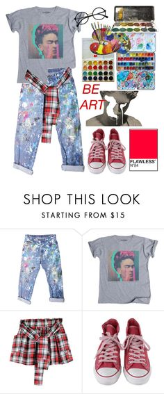 """""""be art"""" by kingxcastiel ❤ liked on Polyvore featuring Rialto Jean Project, Converse, INDIE HAIR and Retrò"""