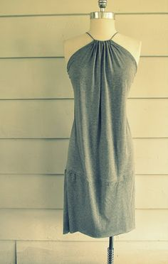 Halter dress out of T-shirts.  I want to make this for my little girl out of one of my old shirts.