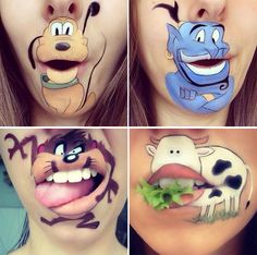 Makeup Artist Laura Jenkinson's Cartoon Lip Makeup  #LauraJenkinson #lipmakeup #cartoonlips