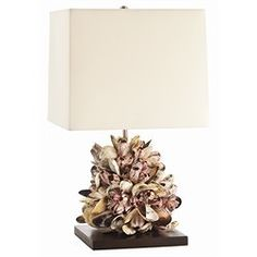 mussel shell + wood lamp.