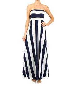 Navy  White Stripe Strapless Maxi Dress | zulily