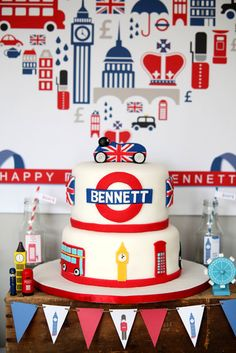 London Calling: I Love Your Cake designed the amazing cake, featuring British graphic elements, including Bennett's name tube-sign style.  Source: Keren Precel Events