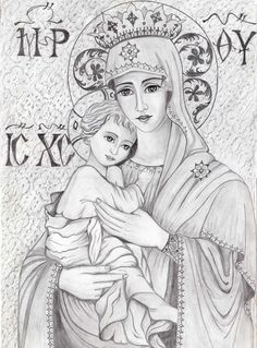 Virgin Mary with jesus Blessed Mother Mary, Blessed Virgin Mary, Catholic Art, Catholic Saints, Religious Icons, Religious Art, Queen Of Heaven, Mary And Jesus, Byzantine Icons