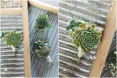 little miss lovely floral design // chincoteague island wedding florist // succulent boutonnieres with nautical rope