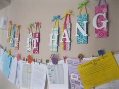 25 Back-to-School Storage & Organization Tips & Tricks Wall Organizer Making a wall organizer that sits out in the open helps you easily remember what needs to get done. Spotted at Crissy Crafts. School Paper Organization, Classroom Organization, Organization Hacks, Classroom Decor, Organizing School, Classroom Management, Hanging Letters, Hanging Artwork, Hanging Banner