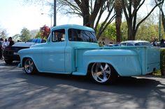 57 Chevy Trucks, Old Pickup Trucks, Hot Rod Trucks, Chevy Pickups, Ford Trucks, Classic Trucks, Classic Cars, Dropped Trucks, Sweet Cars