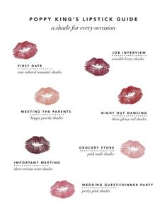 A lipstick shade for every occasion! Job interview? Grocery store? Important meeting? You name it - this guide has got it! Super cute. #insidebeautiful #redlips
