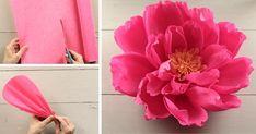 Obrovský kvet z krepového papiera je obľúbenou dekoráciou všetkých neviest. S týmto návodom to hravo zvládnete aj vy! Nápad, návod, svadba, papierové kvety Vintage Princess, Diy Flowers, Vintage Pink, Diy And Crafts, Girly, Jar, Rose, Illustration, Plants