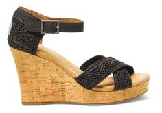 TOM'S - Black Natural Crochet Women's Strappy Wedges. These will be mine. $69.00