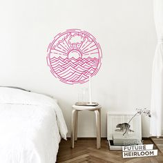 Sun and Waves Badge 02 - Cut Vinyl Removable Wall Decal - Fun Wall Art for your Bedroom Living Room or even the Nursery! by BrightFutureHeirloom