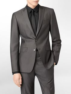 X Fit Ultra Slim Fit Dark Grey Sheen Suit Jacket - love this suit on a man