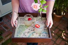 serving tray, using a map or pages out of your favorite book.
