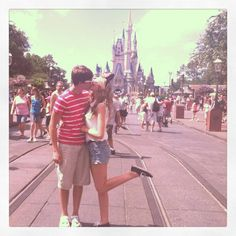 Kisses in Disney World in front of Cinderellas Castle!!!! <3