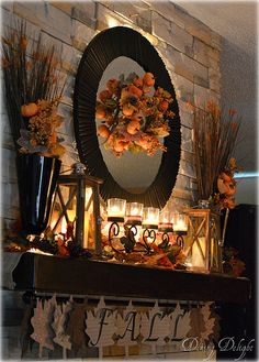 Lately, I've seen some wonderful examples of decorating for fall using very neutral colours. I thought about embracing the trend but. Fall Mantel Decorations, Thanksgiving Decorations, Fall Home Decor, Holiday Decor, Fall Fireplace, Lanterns Decor, Autumn Theme, Neutral Colors, Colours