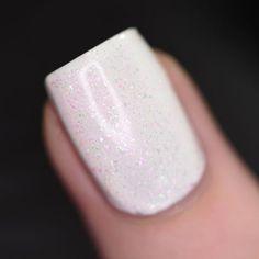 Image #AcrylicNailsAlmond White Acrylic Nails, Almond Acrylic Nails, Clear Acrylic, Work Nails, My Nails, Nail Polish Designs, Nail Art Designs, Wedding Nail Polish, Beautiful Nail Polish
