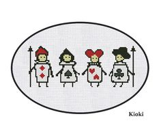 Cross Stitch Pattern Playing Cards Alice Instant by TinyNeedle