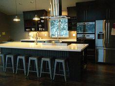 Modern Dark Wood Kitchen cherry wood kitchen with bar table | wood kitchen cabinets