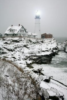 Winter view of the Portland Head Light in Maine. Have been here. Love it!
