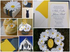 love navy and yellow together, the cards and the daisy wreath and don't forget the cupcakes...