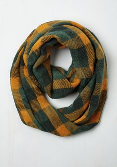 Train Station Anticipation Circle Scarf in green and gold from ModCloth.com