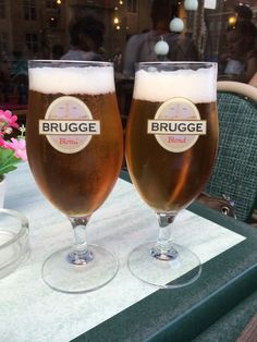 "Hanging out with two ""blonds"" #belgium #brugge #bruges #travel #beer"