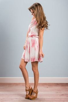 """""""Momentous Occasion Dress, Bubblegum""""Tie dye is a summer must have! Especially in a dress that looks this good! #newarrivals #shopthemint"""