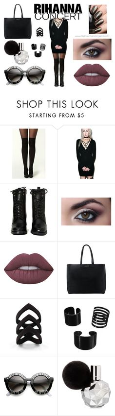 """""""Rihanna concert"""" by infashionchains on Polyvore featuring The Nude Label, Report, Lime Crime, MANGO, concert, black, Dark, edgy and Rihanna"""